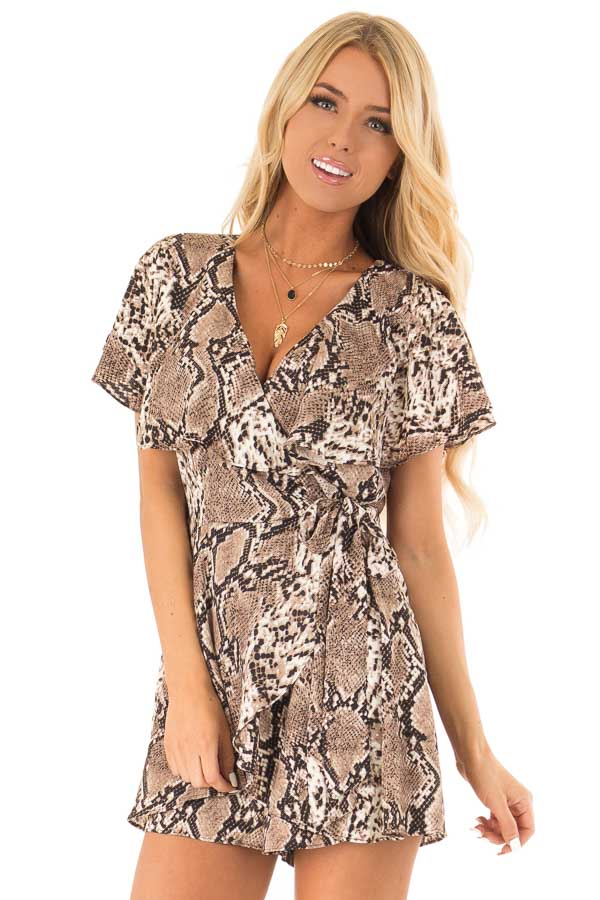 Mocha Snakeskin Print Ruffled Wrap Romper with Back Cutout front close up