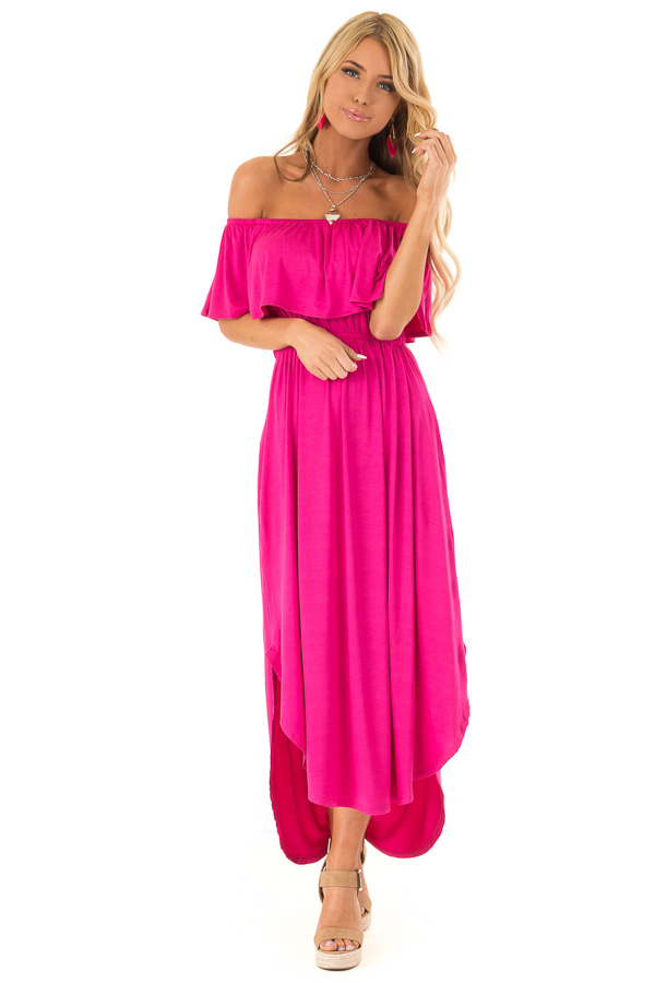 fe5e75f8fcd1 Magenta Off the Shoulder Midi Dress with Ruffle Overlay front full body