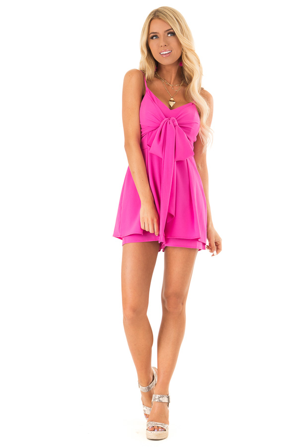 Hot Pink Spaghetti Strap Romper with Front Bow Tie Detail front full body