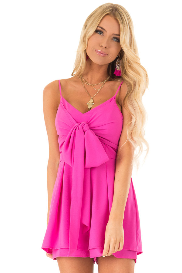 Hot Pink Spaghetti Strap Romper with Front Bow Tie Detail front close up