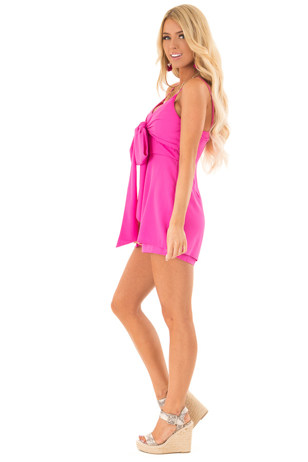 Hot Pink Spaghetti Strap Romper with Front Bow Tie Detail side full body