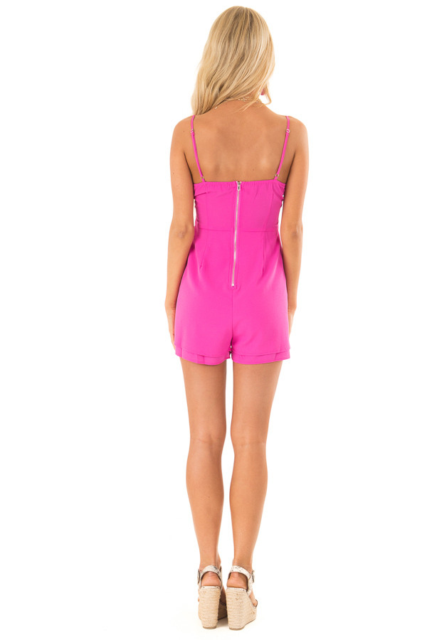 Hot Pink Spaghetti Strap Romper with Front Bow Tie Detail back full body