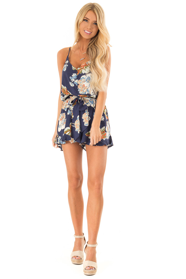 Dark Blue Floral Print Spaghetti Strap Romper with Front Tie front full body
