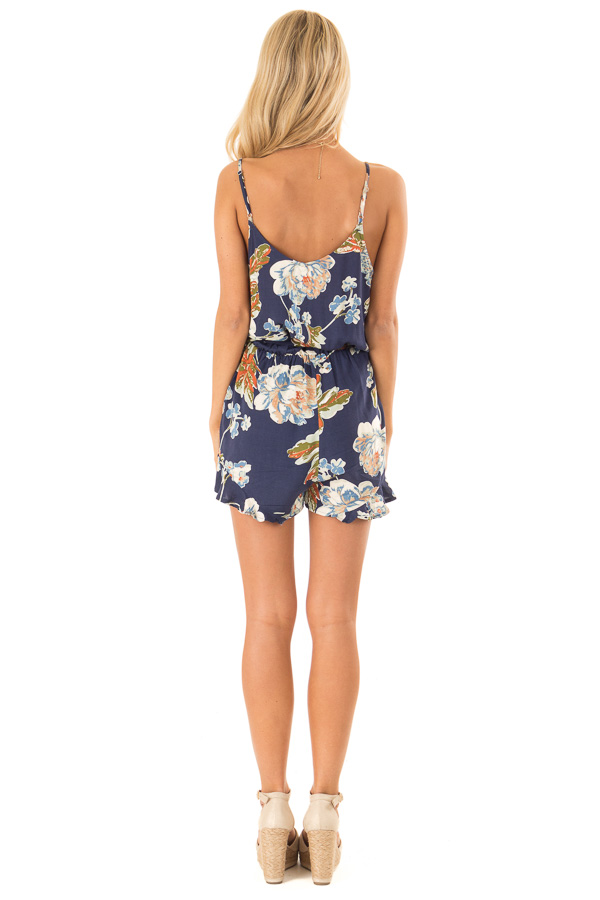 Dark Blue Floral Print Spaghetti Strap Romper with Front Tie back full body