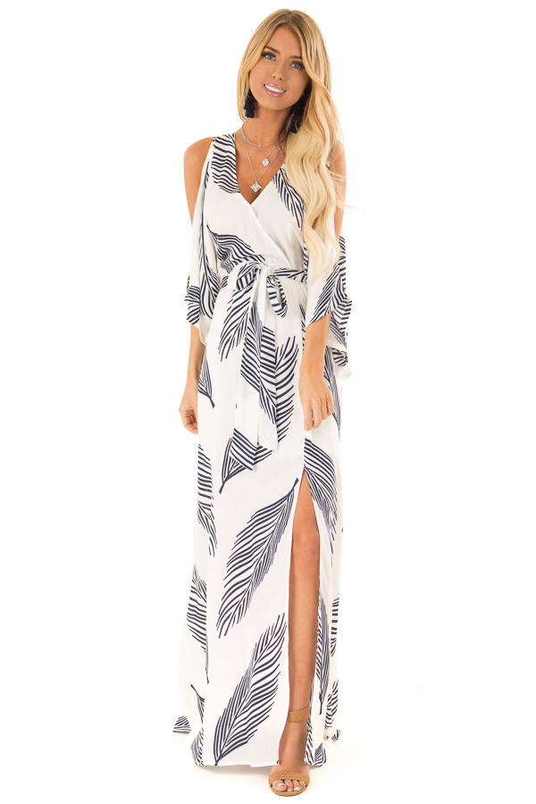 b717990493 Ivory and Navy Leaf Print Cold Shoulder Maxi Dress with Slit front full body
