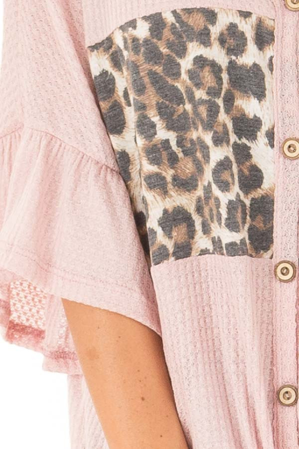Blush Cheetah Top with Ruffle Sleeves and Front Tie detail