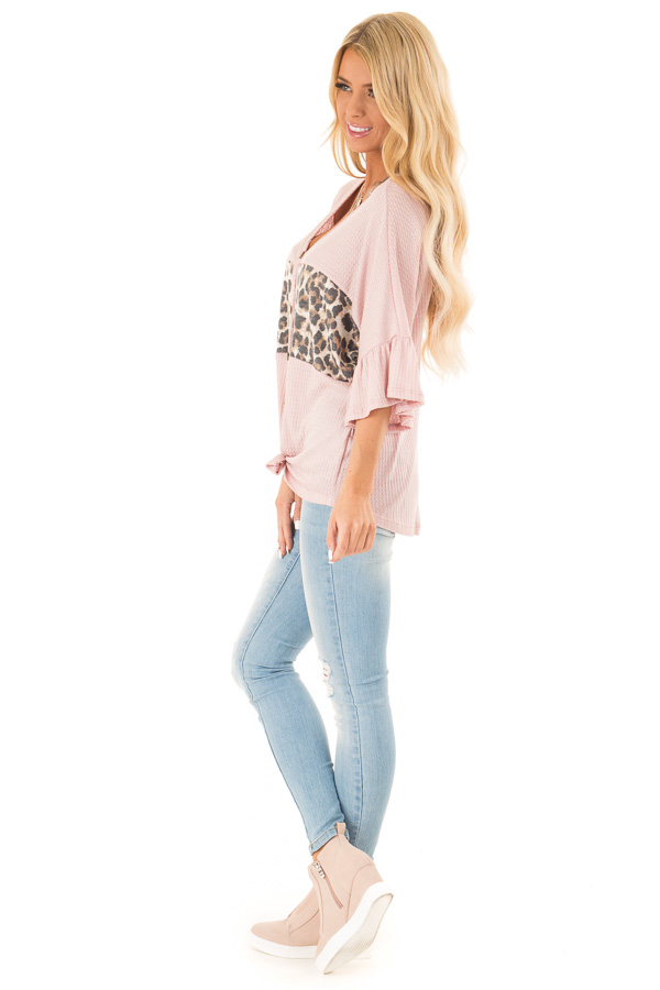 Blush Cheetah Top with Ruffle Sleeves and Front Tie side full body