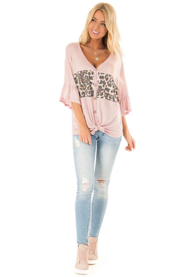 Blush Cheetah Top with Ruffle Sleeves and Front Tie front full body
