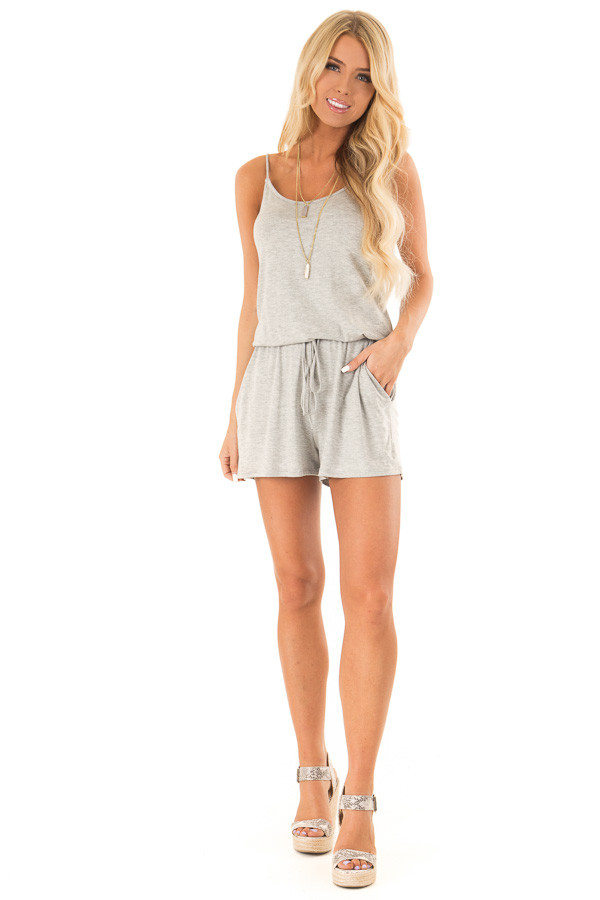Heather Grey Sleeveless Romper with Front Tie and Pockets front full body