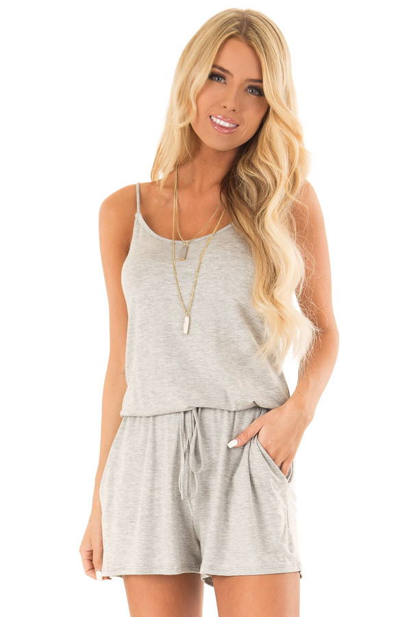 Heather Grey Sleeveless Romper with Front Tie and Pockets front close up