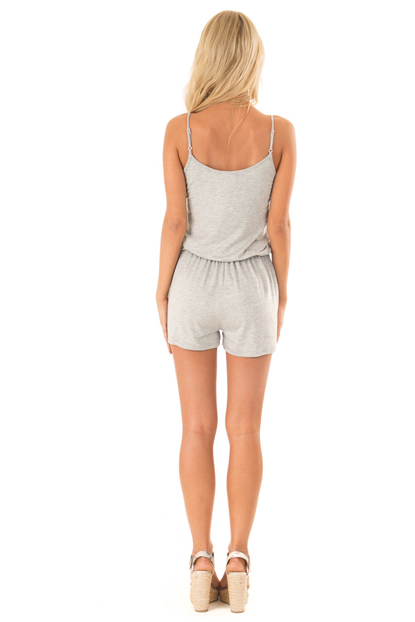 Heather Grey Sleeveless Romper with Front Tie and Pockets back full body