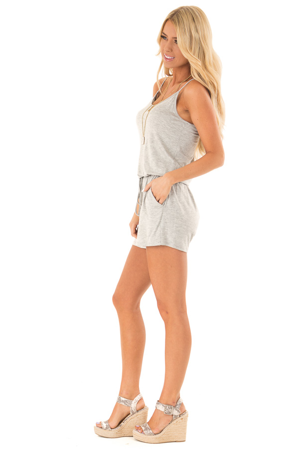 Heather Grey Sleeveless Romper with Front Tie and Pockets side full body