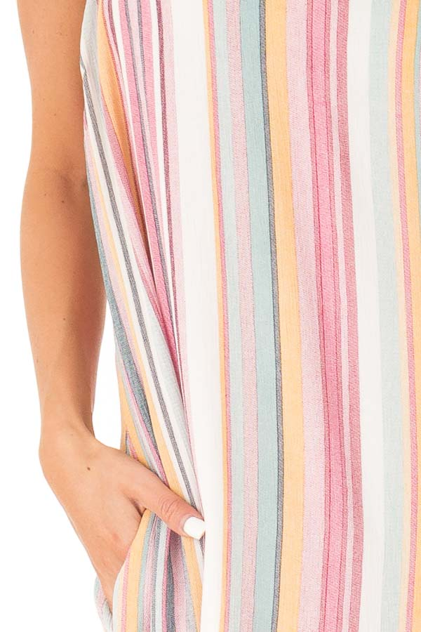 Multicolor Striped V Neck Maxi Dress with Pockets detail