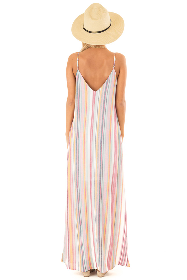 72757a35a6 Multicolor Striped V Neck Maxi Dress with Pockets - Lime Lush Boutique