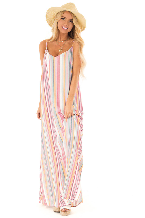 Multicolor Striped V Neck Maxi Dress with Pockets front full body