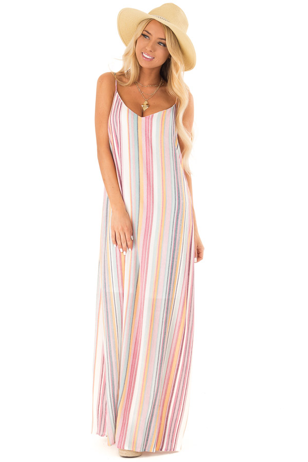8f6439aac78 ... Multicolor Striped V Neck Maxi Dress with Pockets front full body ...