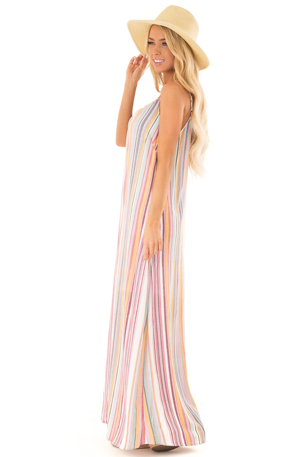 Multicolor Striped V Neck Maxi Dress with Pockets side full body