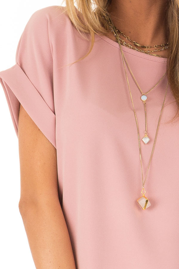 Blush Pink Shift Dress with Short Cuffed Sleeves and Pockets detail