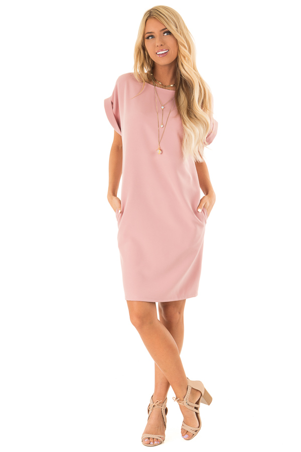 Blush Pink Shift Dress with Short Cuffed Sleeves and Pockets front full body