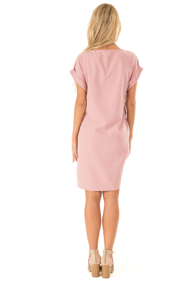 Blush Pink Shift Dress with Short Cuffed Sleeves and Pockets back full body