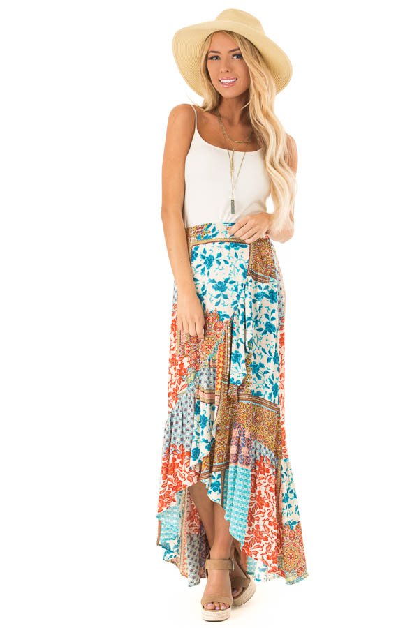 Calypso Blue Bohemian Patchwork Skirt with Wrap Style Front front full body