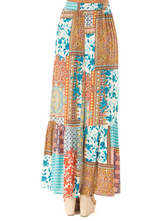 Calypso Blue Bohemian Patchwork Skirt with Wrap Style Front back view