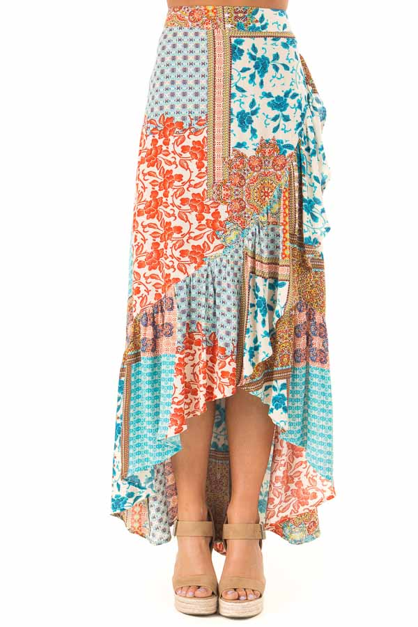 Calypso Blue Bohemian Patchwork Skirt with Wrap Style Front front view