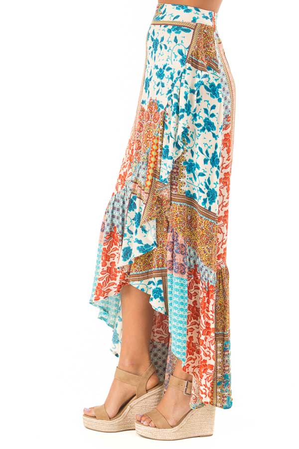 Calypso Blue Bohemian Patchwork Skirt with Wrap Style Front side view