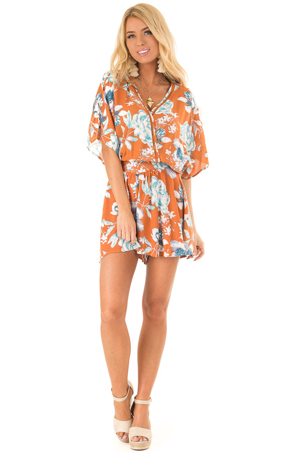 Ginger Romper with Surplice Front and Floral Print front full body