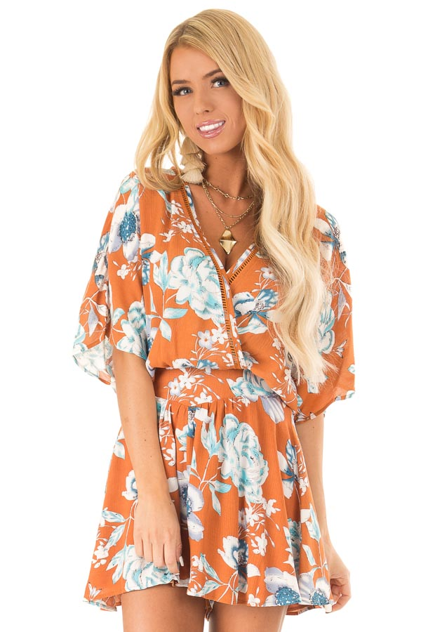 Ginger Romper with Surplice Front and Floral Print front close up