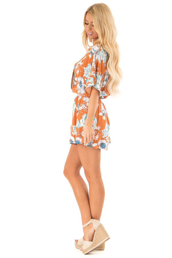 Ginger Romper with Surplice Front and Floral Print side full body