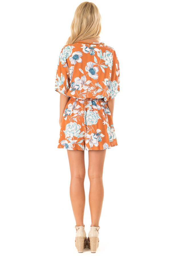 Ginger Romper with Surplice Front and Floral Print back full body