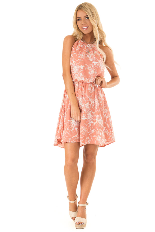 Salmon Spaghetti Strap Dress with Floral Print front full body