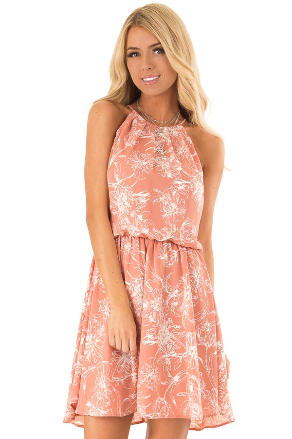 Salmon Spaghetti Strap Dress with Floral Print front close up