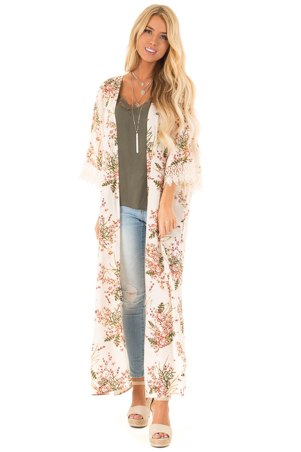 Almond Floral Print Floor Length Kimono with Lace Details front full body
