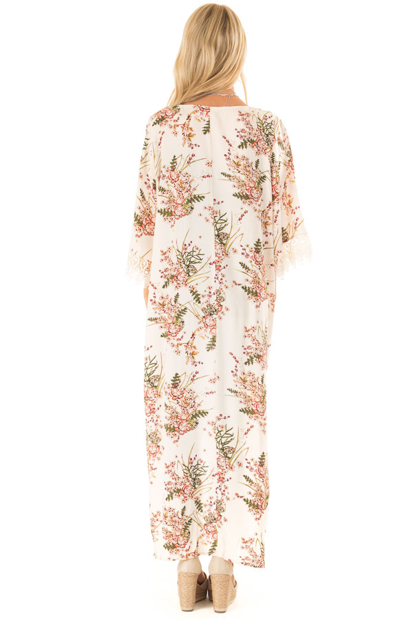 Almond Floral Print Floor Length Kimono with Lace Details back full body