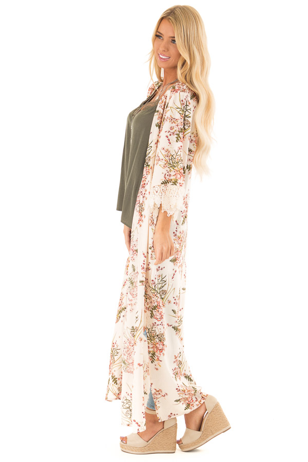 Almond Floral Print Floor Length Kimono with Lace Details side full body