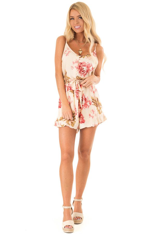 Apricot Floral Print Spaghetti Strap Romper with Front Tie front full body