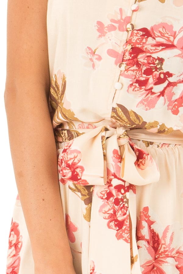 Apricot Floral Print Spaghetti Strap Romper with Front Tie detail