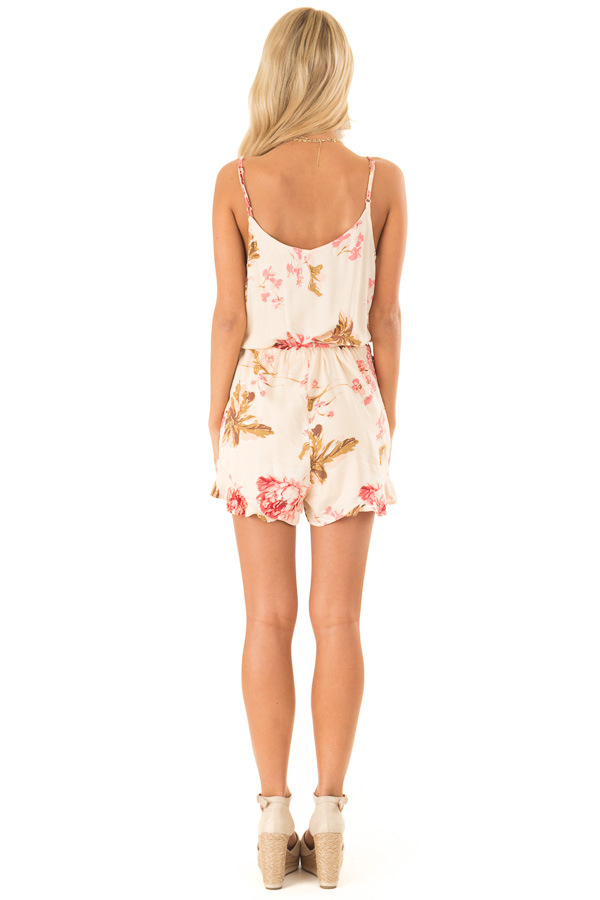 Apricot Floral Print Spaghetti Strap Romper with Front Tie back full body
