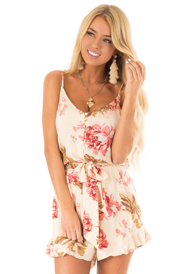 Apricot Floral Print Spaghetti Strap Romper with Front Tie front close up