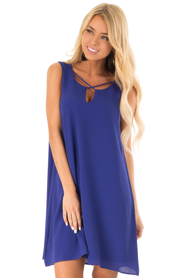 Royal Blue Sleeveless Swing Dress with Criss Cross Detail front close up