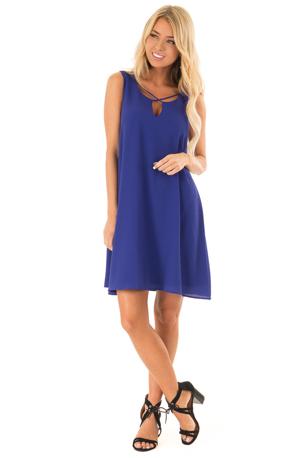 Royal Blue Sleeveless Swing Dress with Criss Cross Detail front full body