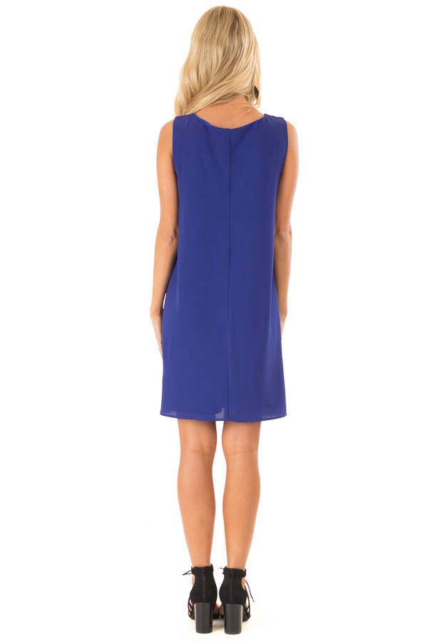Royal Blue Sleeveless Swing Dress with Criss Cross Detail back full body