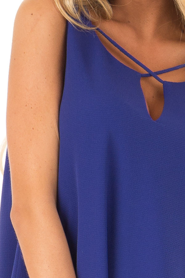 Royal Blue Sleeveless Swing Dress with Criss Cross Detail detail
