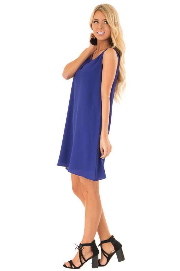 Royal Blue Sleeveless Swing Dress with Criss Cross Detail side full body
