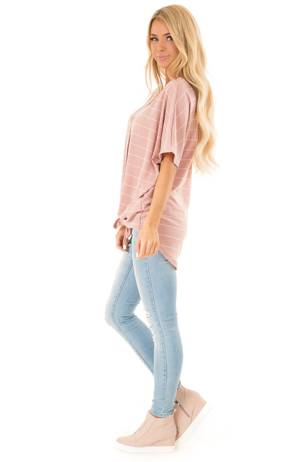 Blush Pink Button Up Top with Stripes side full body