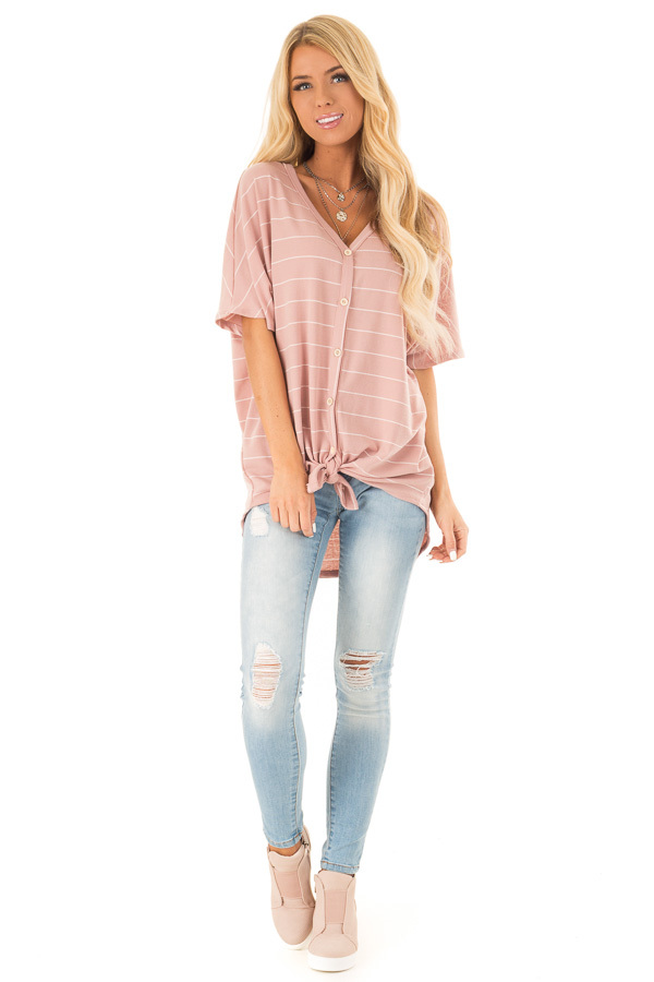Blush Pink Button Up Top with Stripes front full body