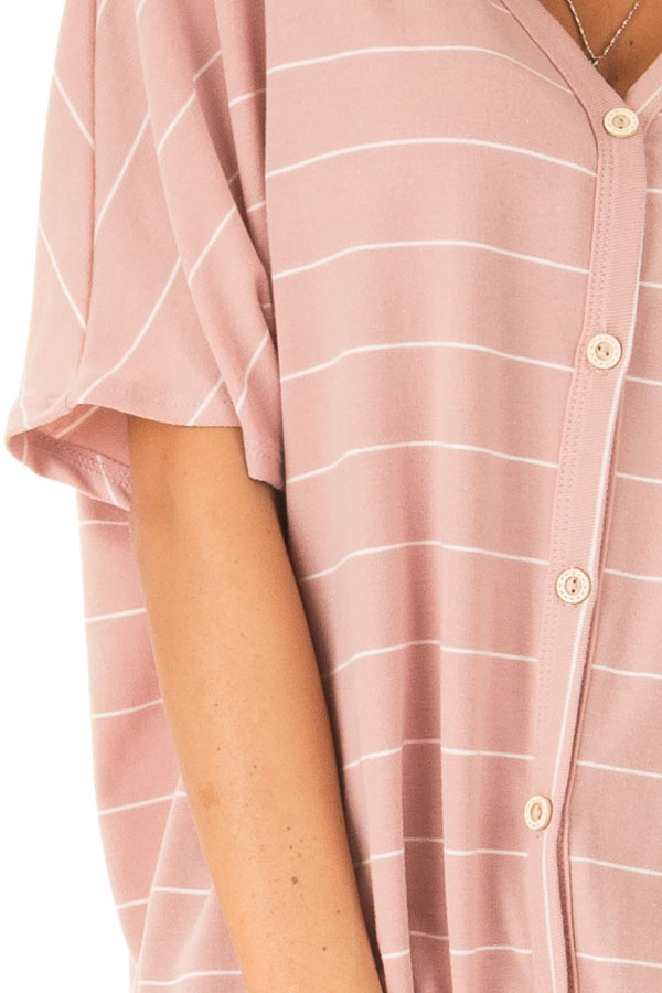Blush Pink Button Up Top with Stripes detail