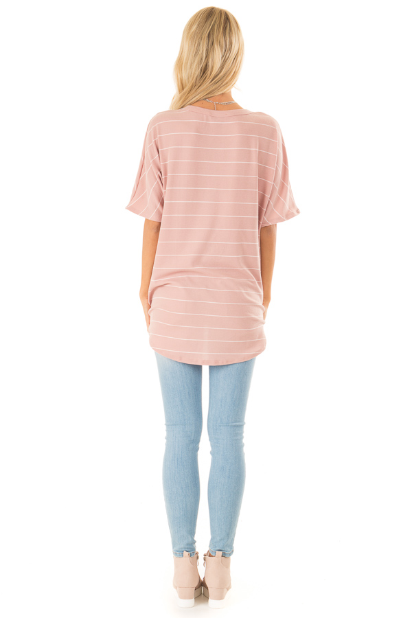 Blush Pink Button Up Top with Stripes back full body